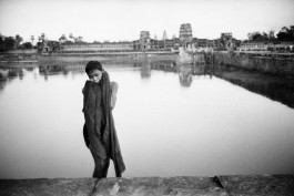 Cambodia, 1969. A young Khmer has been bathing in a moat of Angkor.