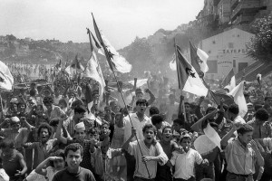 Algiers, 1962. On July 2, 1962, young Algerians poured into the streets of Bouzaréah in Algiers to celebrate the country's independence.