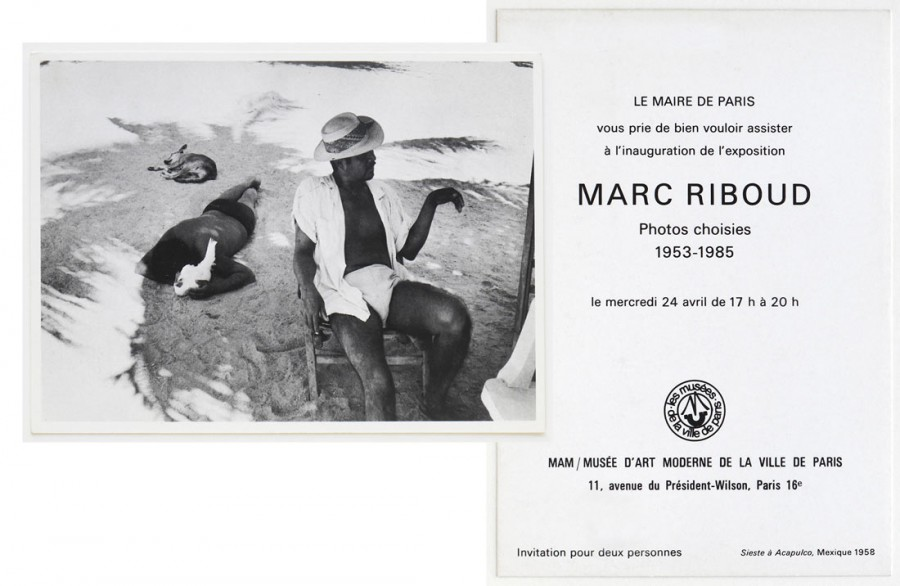 "Invitation card of the exhibition ""Photos choisies 1953-1985"" at the Musée d'art moderne de la Ville de Paris, 1985"