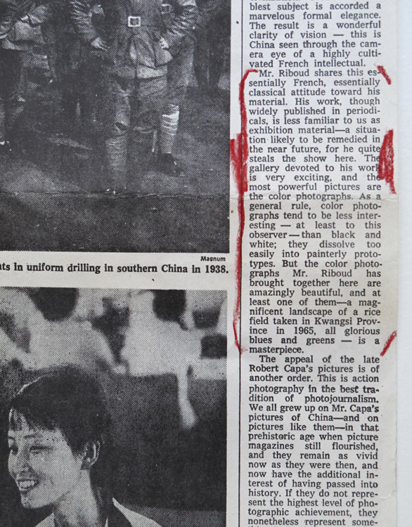 "Detail of the New York Times article published about the group exhibition ""Behind the Great Wall of China"", organized by the Metropolitan Museum of Art, New York, 1972"