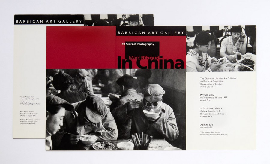 "Invitation card of the exhibition ""Forty years of photography in China (1956-1996)"" at the Barbican Art Gallery, London, 1997"