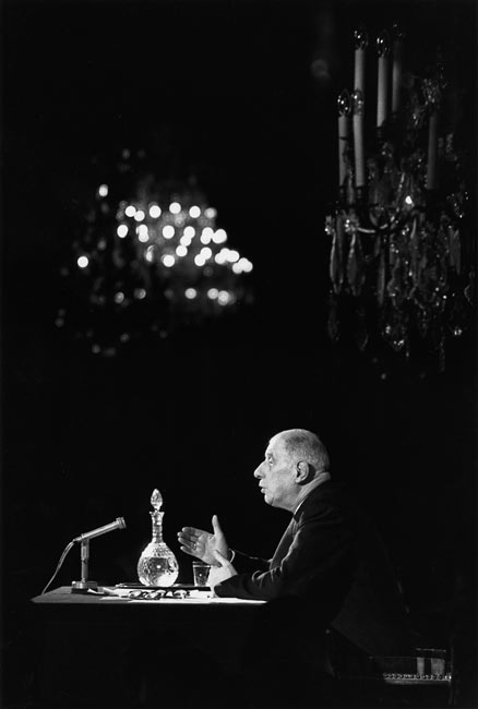 Charles de Gaulle during a press conference, Paris, 1959