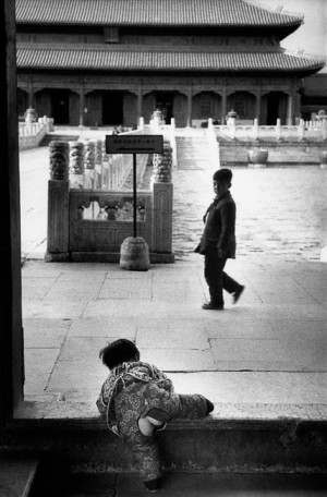Child wearing traditional chinese-style toilet training pants in the Forbidden City, Beijing, 1957