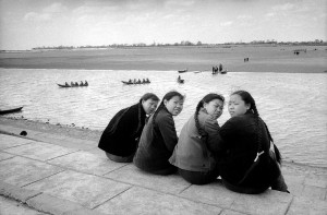 Students on the bank of the Sungari, tributary to Amur river, Harbin, 1965