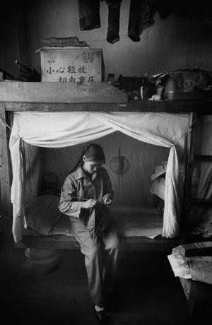 Employee in the dormitory of a factory, Kunming, 1965