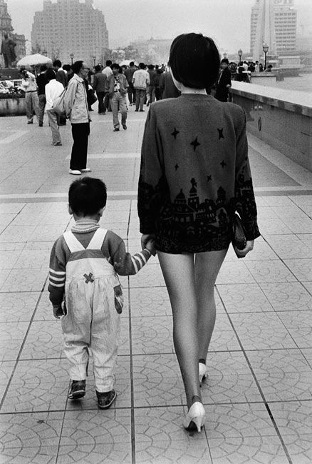 Mother and his son on the Bund, Shanghai, 1993