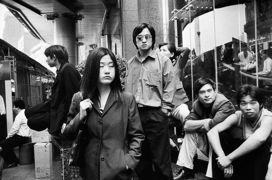 Youth in front of a department store, Shanghai, 2002