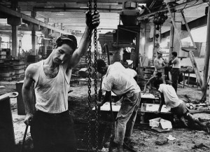 Workers in a metalworking factory, 1963