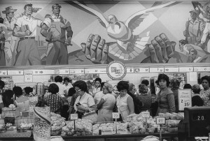 In this former Woolworth store, nationalized, large frescos depict the Cuban revolution. Havana, 1963