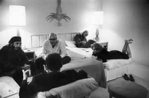 Fidel Castro interviewed by Jean Daniel (in the foreground) in a hotel room. Havana, Cuba, November 1963