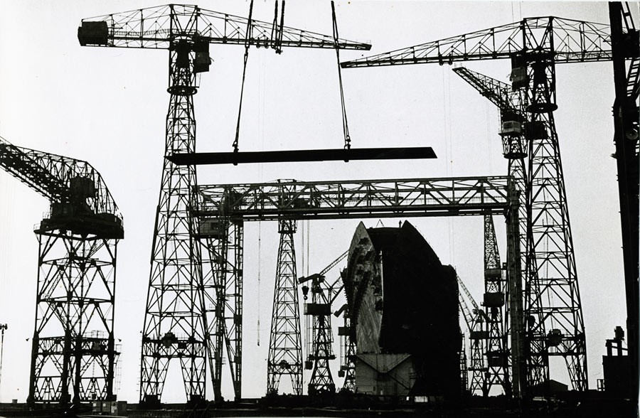 Chantier de construction du paquebot France, Saint-Nazaire, 1959