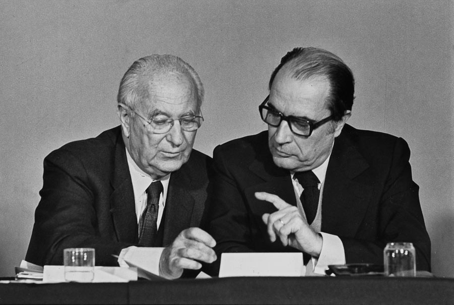 François Mitterrand and Gaston Deferre during the Parti socialiste convention, Paris, 1974