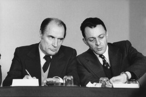 François Mitterrand and Michel Rocard during the Parti socialiste convention, Paris, 1974