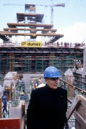 François Mitterrand visits the construction site of the Louvre pyramid, Paris