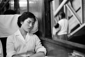In the train between Tokyo and Enoshima, 1958