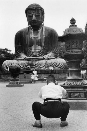 In front of the Great Buddha in Kamakura, 1958
