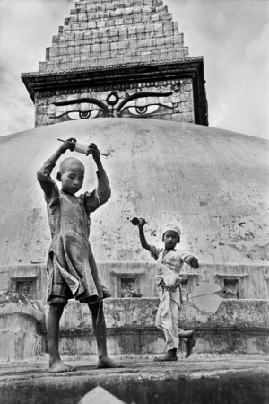 Children playing with kites in a temple of Kathmandu, 1956