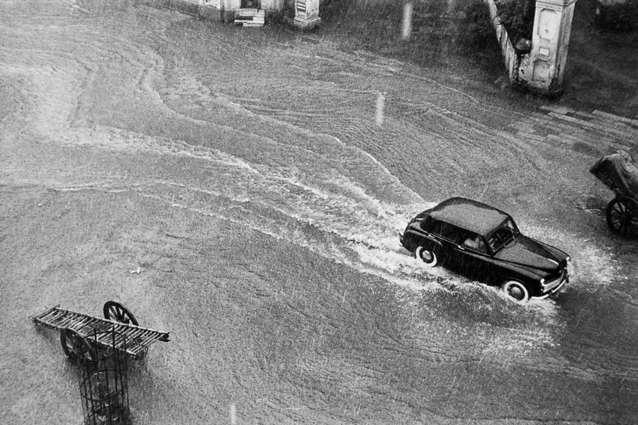 Car in the monsoon, Kathmandu, 1956