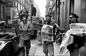 Newspaper passing on the Abbé Pierre call to help the homeless during the harsh winter of 1954