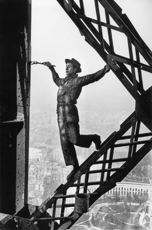 Paris, 1953. painting the Eiffel tower