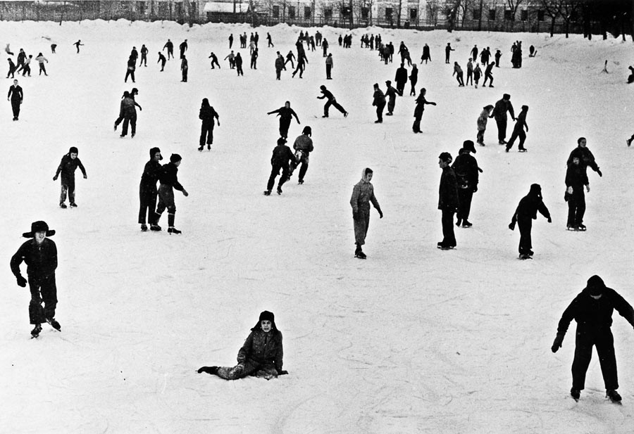Ice rink close to Gogol boulevard in Moscow, 1960
