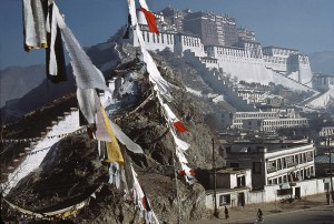 Hundreds of prayer flags are attached in front of the Potala, Lhassa, 1985