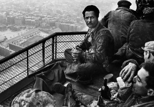 Lunch of the painters of the Eiffel tower, Paris, 1953