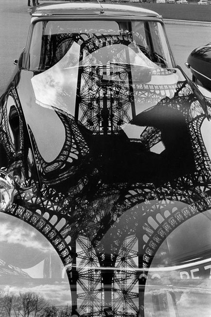 Reflection of the Eiffel tower on a DS car body, Paris, 1964