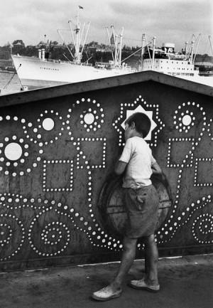 Sur le pont Galata, Istanbul, 1955