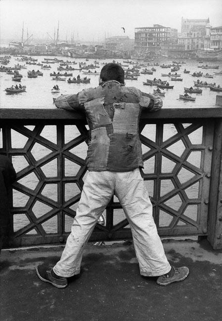 On Galata bridge, Istanbul, 1955