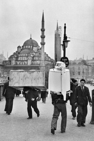 Carriers on Galata bridge, Istanbul, 1955