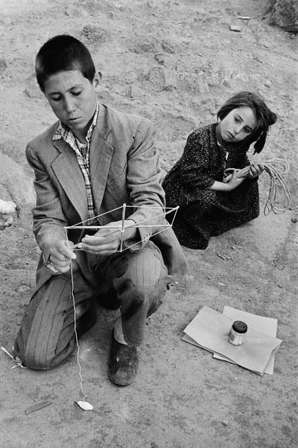 Children playing kites in Ankara, 1955