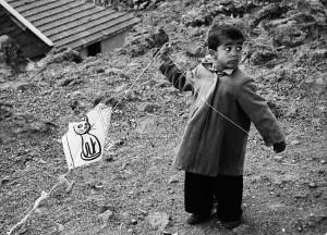 Child playing kites in Ankara, 1955