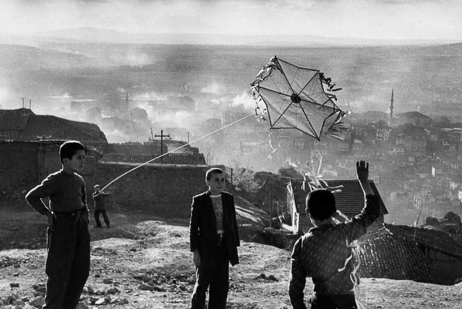 Children playing with kites in Ankara, 1955