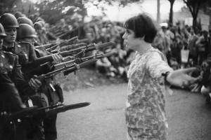Young girl with a flower (variant), demonstration against the war in Vietnam, Washington D.C., October 21st 1967