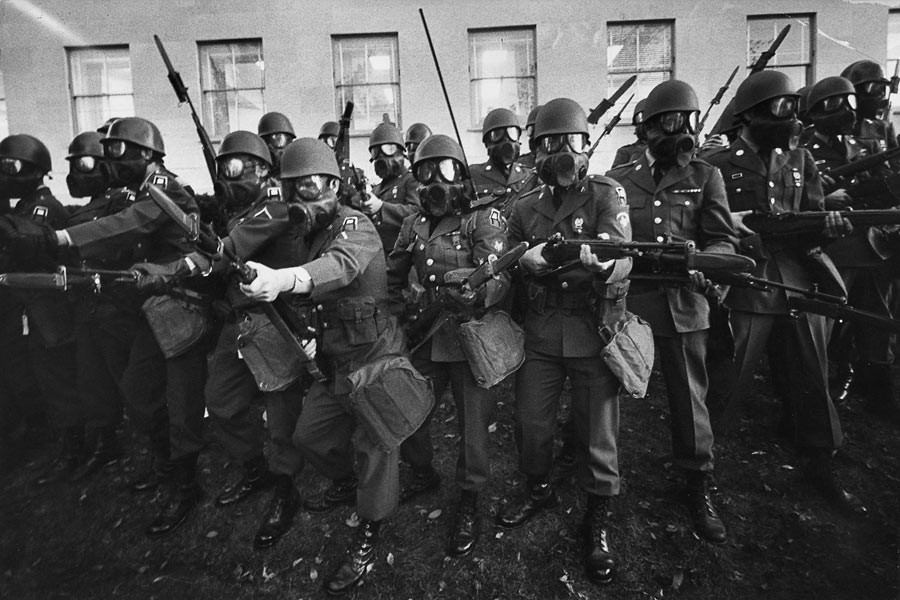 Soldiers during a demonstration against the war in Vietnam, in front of the Pentagon, Washington D.C., October 21st 1967