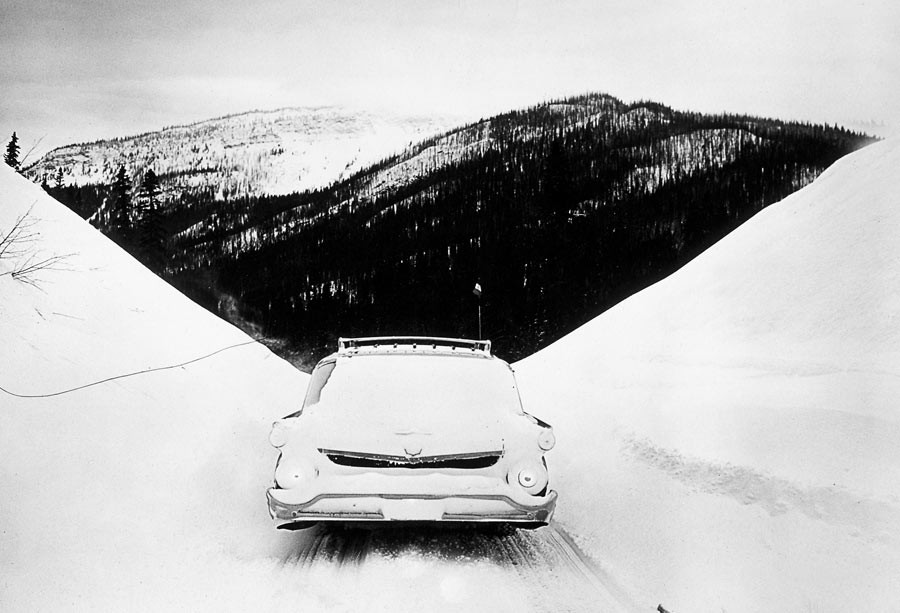 Road between Dawson Creek and Prince George, heading to Vancouver, Canada, 1958