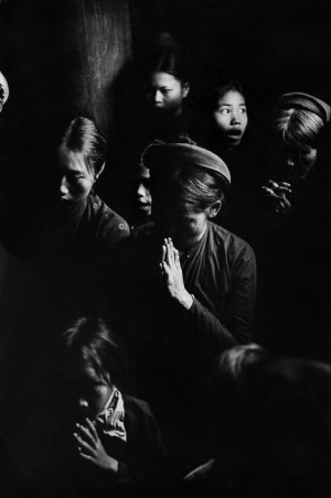 Prayer in a catholic church in Phat Diem, North Vietnam, 1969