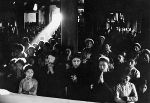Sunday mass in a catholic church of Ninhbinh, North Vietnam, 1969