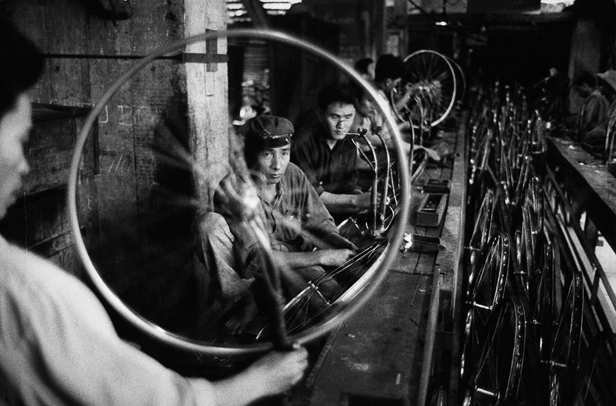 Bicycle factory in the suburb of Hanoi, 1969