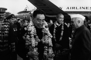 Zhou Enlai is welcomed in India by Jawaharlal Nehru (on the right) in 1956. Between them the Panchen Lama.